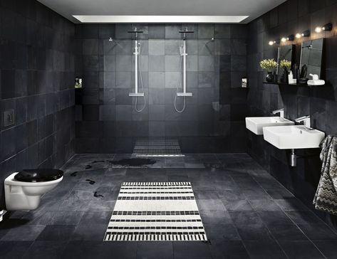 De badkamer zwarte deco moderne en eigentijdse stijl badkamer