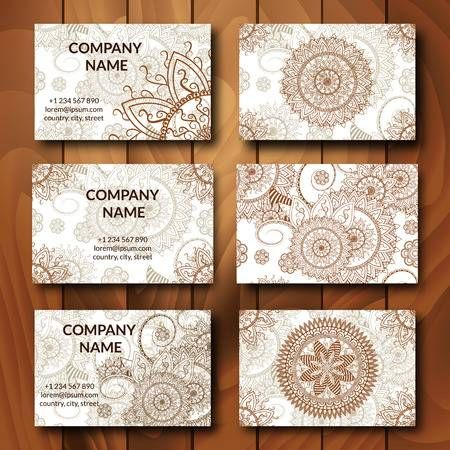 Vintage Business Cards Set Ornamental Mandala Indian Arabic Vintage Business Cards Art Business Cards Business Card Set