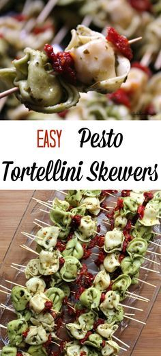 These Easy Pesto Tortellini Skewers are served up room temperature (or cold) making them a great choice for bringing along to potlucks, BBQ's, and brunches. Don't forget the holiday table, these skewers make a great holiday appetizer - think Thanksgiving & Christmas & Easter appetizers.