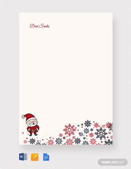 Santa Christmas Letter Template Word Apple Pages Google Docs Christmas Letter Template Note Card Template Santa Letter Template