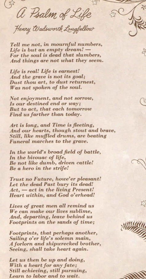 """A Psalm of Life   Summary of """"A Psalm of Life"""" by Henry Wadsworth Longfellow"""