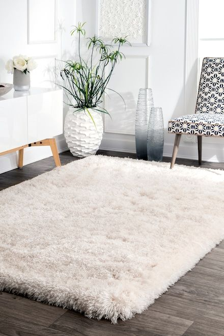 Terrace Fluffy Speckled Shag Rug White Shag Rug Bedroom Rug Living Room Carpet