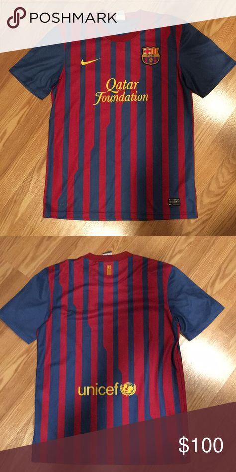 ⚽️NEW Nike Barcelona jersey dri-fit⚽️$aving 4/7/18 Barcelona soccer jersey NEW (Bought in Barcelona Spain Size medium Nike There's nothing like soccer in Spain Nike Shirts Polos