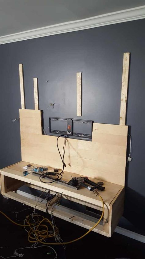 DIY Floating Entertainment Unit and Wall Covering - Imgur