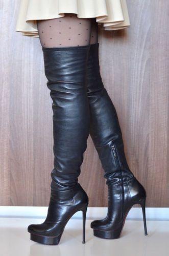 0cf4d33aad6 Gianmarco Lorenzi stiletto high heels thigh overknee boots stretch ...