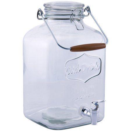 Better Homes Gardens 2 Gallon Glass Beverage Dispenser With Glass Clamp Lid Walmart Com Glass Beverage Dispenser Drink Containers Drinking Jars