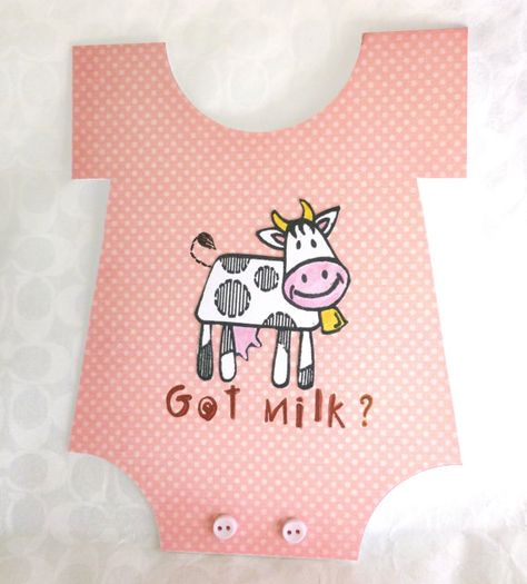 handmade pink baby girl card onesie card