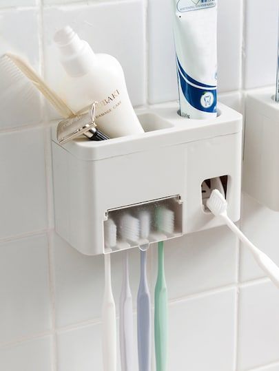 Bathroom Wall-mounted toothbrush holder Toothpaste Squeeze Shower Shelf Storage