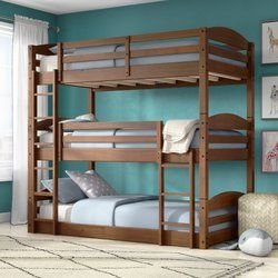 Prather Twin Over Full Over Queen Bed Bunk Bed With Trundle Low