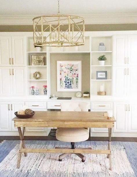 25 Chic Office Desk Arrangements You Need to Copy Now Vol - Office Space Design & Decor - Home Office Decor, Furniture, Office Built Ins, Home Office Desks, Home Office Decor, Interior, Home Decor, Chic Office Desks, Office Design