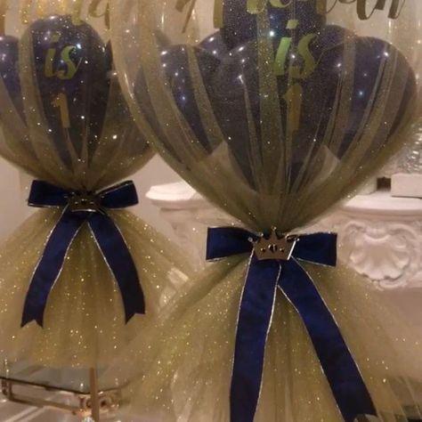 Prince Glitter Tulle Balloon Centrepiece #balloondecorations