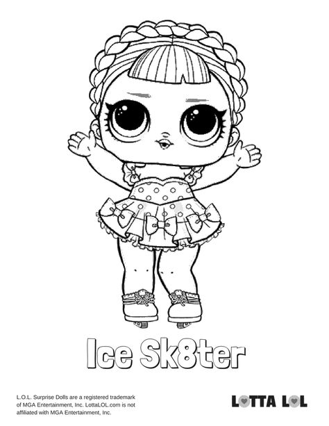Ice Sk8ter Coloring Page Lotta Lol Lol Dolls Unicorn Coloring Pages Mermaid Coloring Pages
