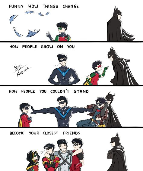 Image uploaded by 가을 요정. Find images and videos about fanart, batman and brothers on We Heart It - the app to get lost in what you love. Batman Comic Art, Gotham Batman, Batman Comics, Batman Robin, Red Hood Jason Todd, Jason Todd Batman, Tim Drake, Damian Wayne, Nightwing