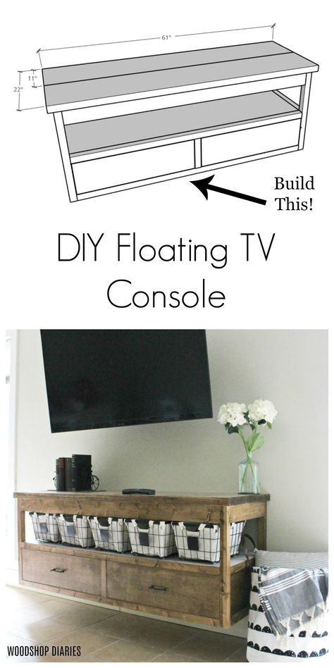 How to build a DIY floating TV console with these free plans! Free plans to build a modern floating TV stand with storage drawers. Fun modern design can also double as a dresser, or vanity! Floating Vanity, Floating Tv Console, Furniture, Modern Diy, Floating Tv Shelf, Room Remodeling, Diy Furniture, Tv Console Diy, Diy Furniture Tv Stand