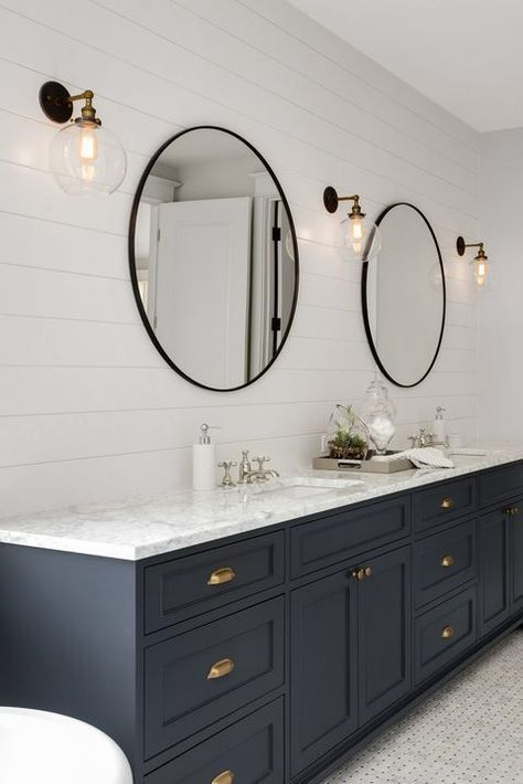 Bathroom in New Luxury Home with Two Sinks and Dark Blue Cabinets. Shows Walk-In… Bathroom in New Luxury Home with Two Sinks and Dark Blue Cabinets. Shows Walk-In Closet Bad Inspiration, Bathroom Inspiration, Bathroom Renos, Dyi Bathroom, Round Bathroom Mirror, Bathroom Vanities, Blue Bathroom Vanity, Blue Vanity, Master Bathroom Vanity