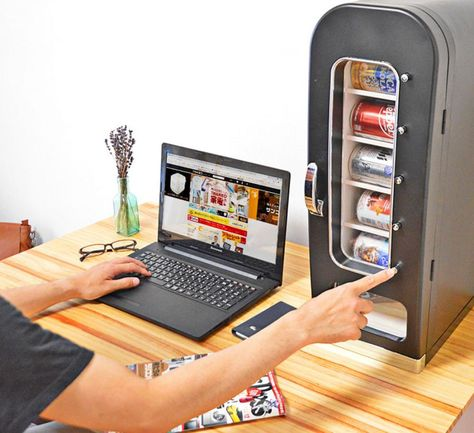 Do you get sick of having to walk all the way to the fridge or community vending machine just to get a cold beverage? With this mini personal vending machine you can keep your cans chilled to the perf. Cool Gadgets To Buy, Cool Kitchen Gadgets, Cool Kitchens, Kitchen Tools, Mini Vending Machine, Vending Machines, Cooking Gadgets, Cooking Blogs, Cooking Recipes