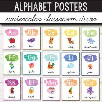 Free Alphabet Posters Watercolor Classroom Decor Classroom