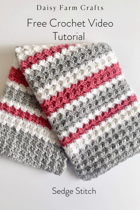 Free Crochet Video Tutorial on how to complete the sedge stitch. #crochet #crochetpatterns #daisyfarmcrafts