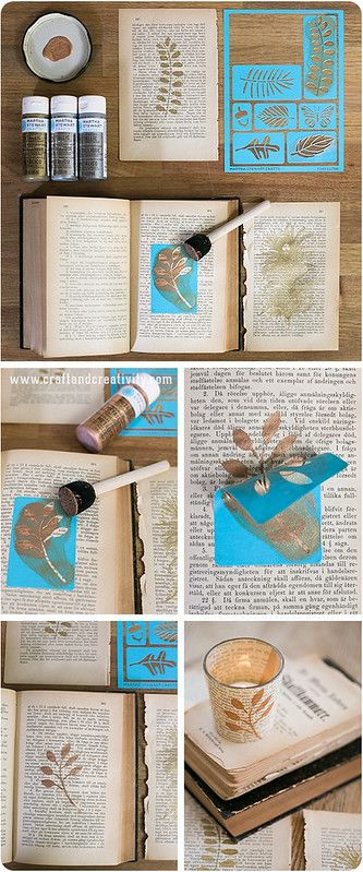 Stenciltryck på papper – Stencil printing on paper (Craft & Creativity) Old Book Crafts, Book Page Crafts, Book Page Art, Old Book Pages, Crafts To Make, Diy Crafts, Geek Crafts, Old Book Art, Craft Books