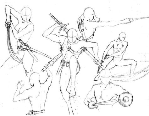 Action Poses 7 Swords By Shinsengumi77 Deviantart Com On Deviantart Anime Poses Reference Art Reference Poses Drawing Poses
