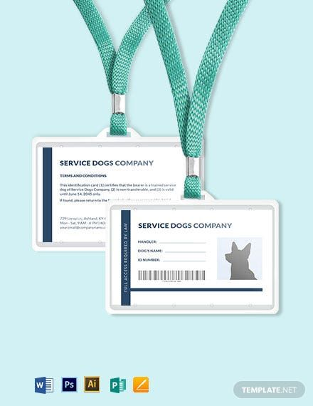 Blank Service Dog Animal Id Card Template Word Doc Psd Apple Mac Pages Illustrator Publisher Id Card Template Card Templates Free Card Template