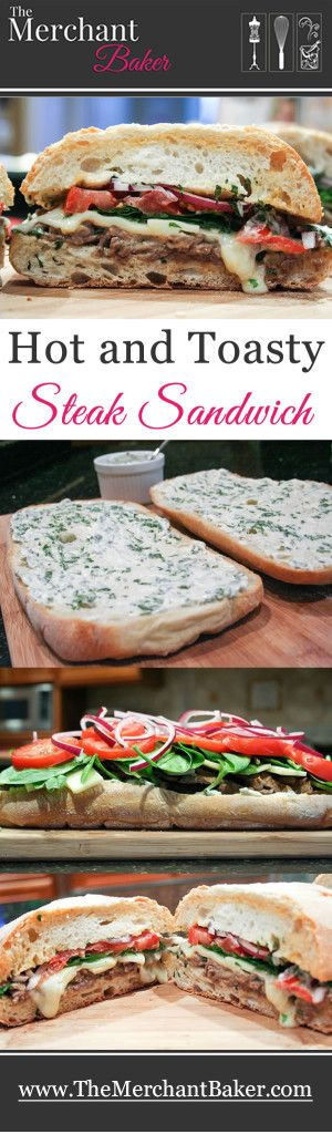 Hot and Toasty Steak Sandwich. Thinly sliced steak, gruyere, spinach, tomatoes and onions accented by a creamy basil mayo and baked until hot and toasty. Can also be heated on a grill!