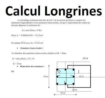 Calcul Longrine Calcul Calcul Beton Planning Chantier