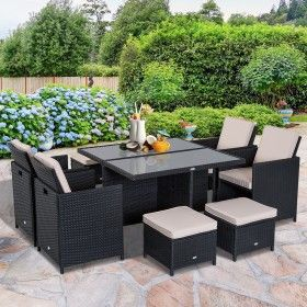 Outsunny 11 Pieces Rattan Dining Set Aluminium Black Terras