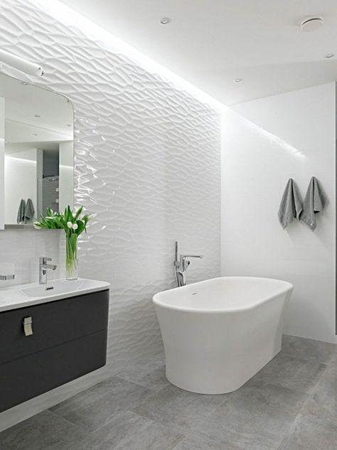 Charmant Design Salle De Bains Moderne Blanche Avec Mur En Relief 3d