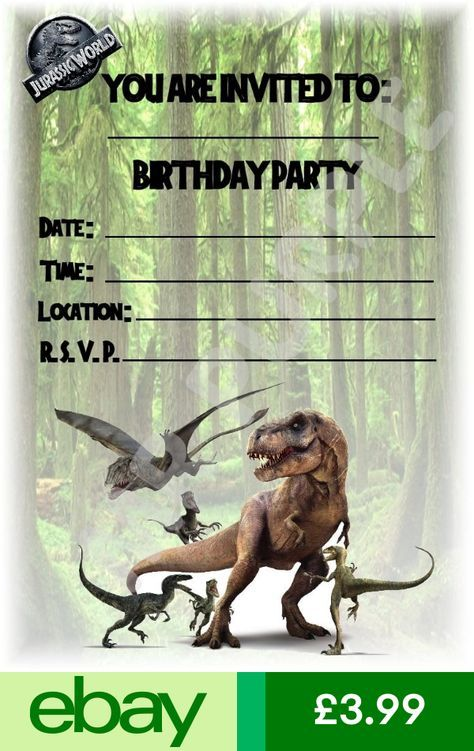 Jurassic World Printed Invitations Announcements Home