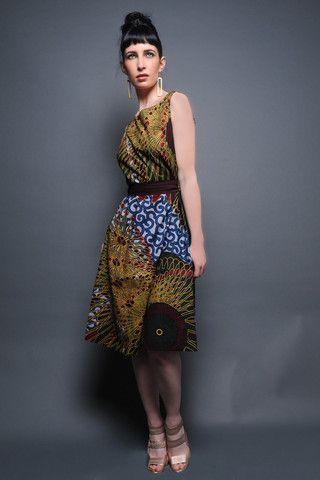 Sleeveless African Print Dress by Kiko Romeo
