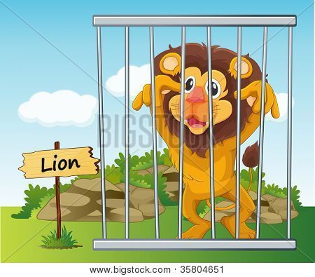 Illustration Of A Lion In Cage And Wooden Board Poster Id 35804651 Cartoon Zoo Zoo Clipart Lion Vector