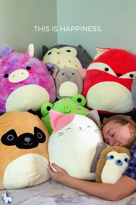 Teen girl hugging a stack of Squishmallows - These are the best gifts for EVERYONE! Faith Crafts, Cute Stuffed Animals, Beanie Boos, Animals For Kids, Wild Animals, All Things Cute, Plush Animals, Plushies, Pet Toys