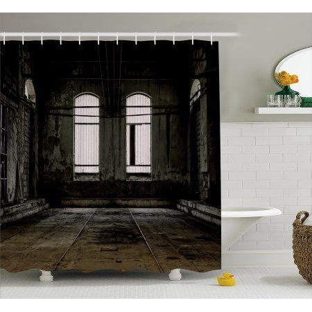 Industrial Decor Shower Curtain Vintage Grunge Floor Walls And