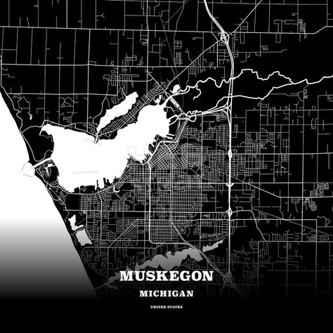 Black map poster template of Muskegon Michigan USA