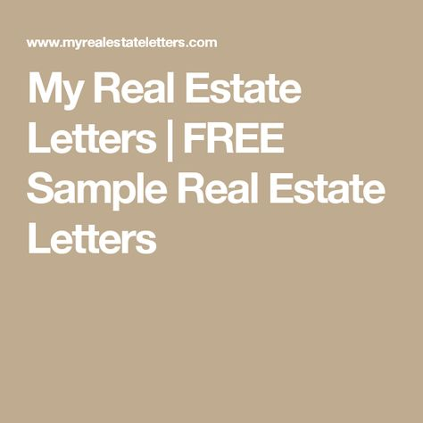 free sample real estate letters