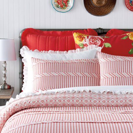 The Pioneer Woman Ticking Stripe Sham Set Walmart Com In 2021 Ticking Stripe Bedding Ticking Stripe Orange Bed Covers