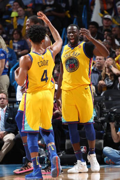 Draymond Green Celebrates With Quinn Cook Of The Golden State Warriors During The Game Against The Golden State Warriors Golden State Warriors Pictures Warrior