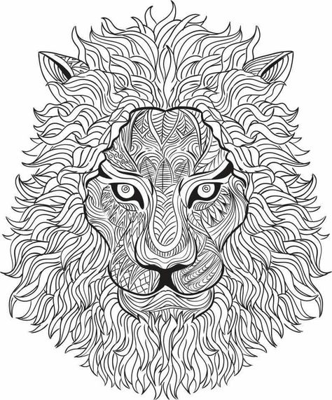 Free coloring page coloring-adult-africa-lion-head-3 Impressive - fresh coloring pages lion head