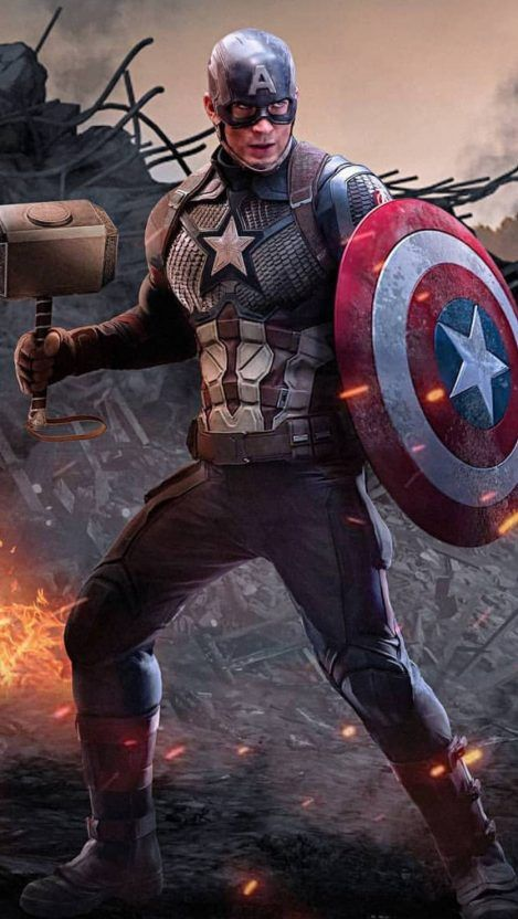 Captain America With Thor Hammer Worthy Iphone Wallpaper 1