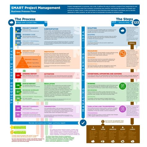 I am a big fan of Infographics, here is a good one that summarizes the project management lifecycle