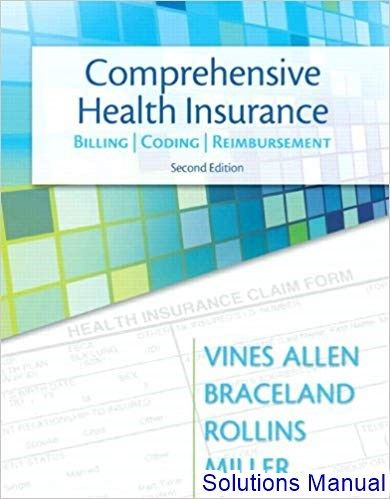 Solutions Manual For Comprehensive Health Insurance Billing Coding