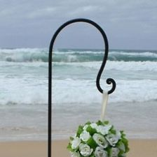 Shepherds Hook White Free Standing Wrought Iron 30in With
