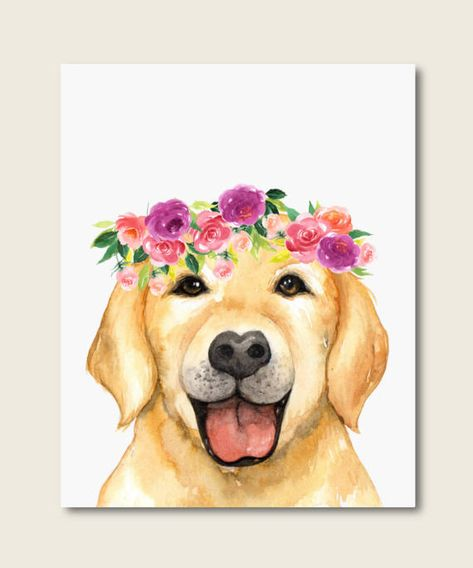 Dog Art Print, Baby Nursery Decor, Labrador Dog Print, Flower Wreath Art, Dog Poster, Animals Art, L