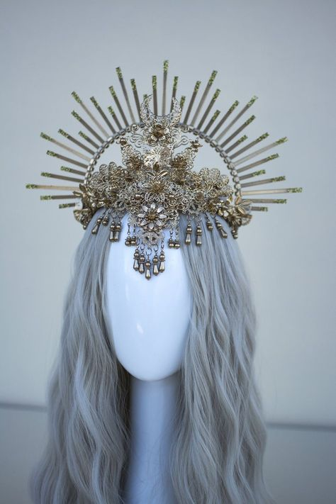 Wedding Hair Accessory Crown Headpiece Virgin Mary Mermaid 3 Silver Halo Headband Theatrical Costuming Bridal Crown Festival Wear