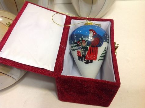Hand painted porcelain Christmas ball ornament Santa / Children