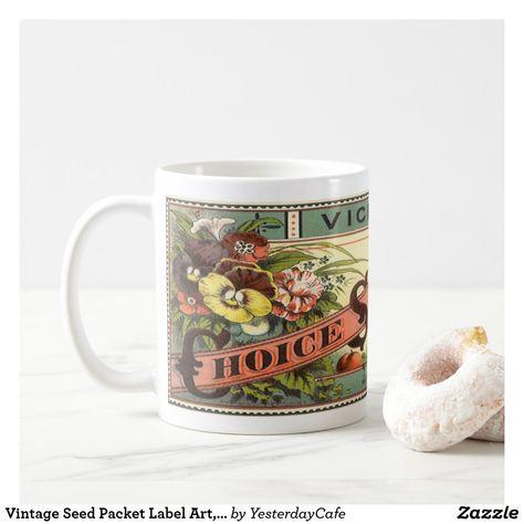 Vintage Seed Packet Label Art, Vick's Choice Seeds Coffee Mug