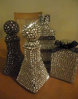 Incredibly easy craft...rhinestone covered bottles.