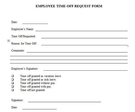 Employee time off request form template excel and word Company - access request form