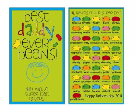 Cutest Father's Day Gift EVER!  A jar of jelly beans where each color represents a